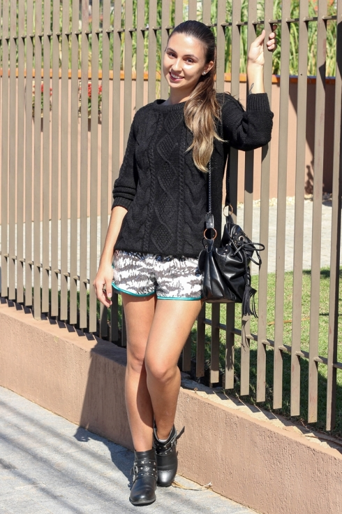 Shorts de Paetê + Tricot