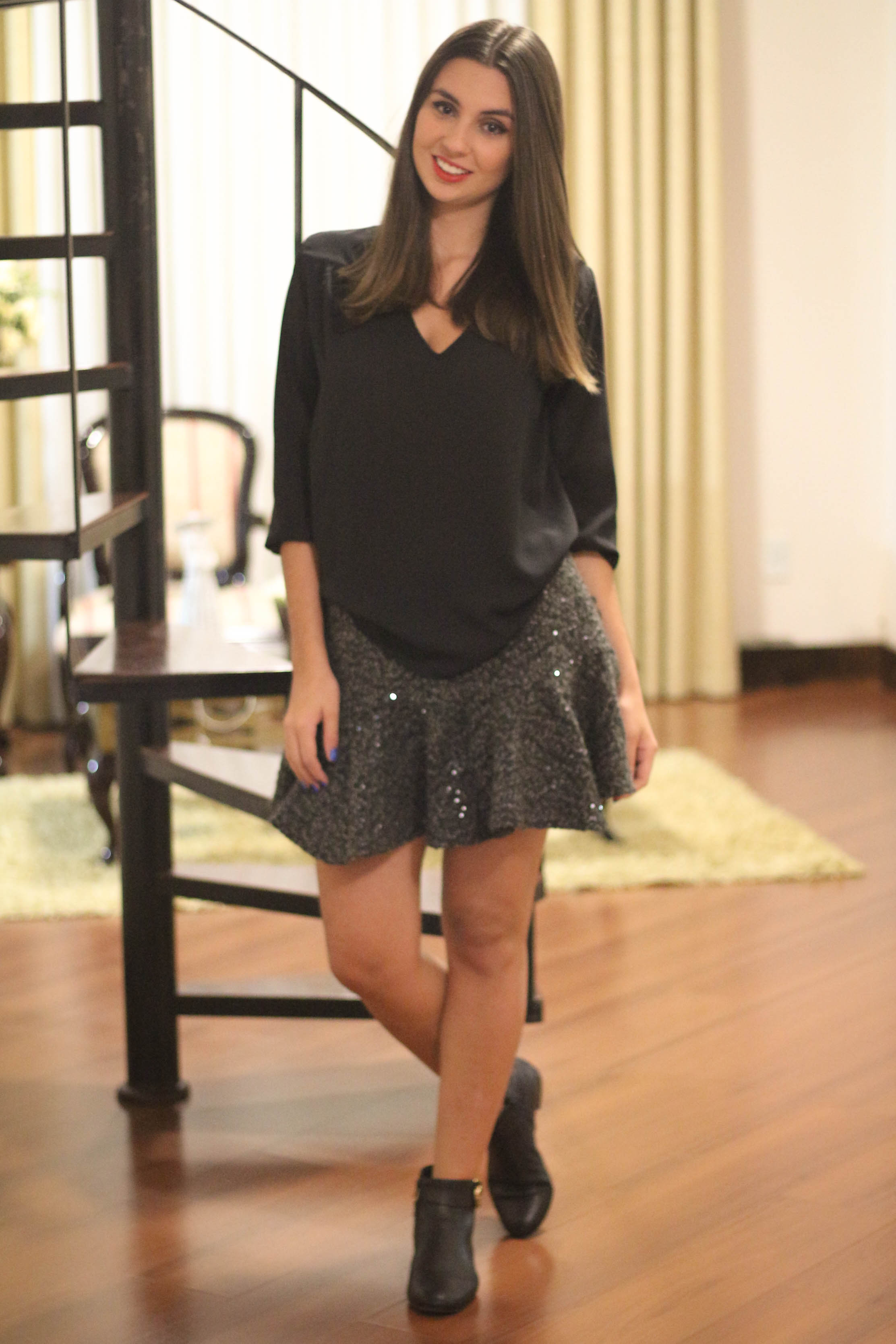 Look do Dia | Saia Peplum com Paetês | Blá Blá do Dia